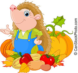 Hedgehog with harvest - Cute hedgehog with harvest of fruits...