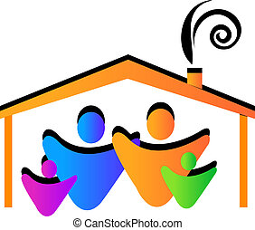 Family house logo - Family house with figures