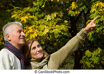 old people at tree - portrait of a pretty elderly couple...