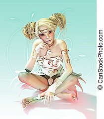 Little White Fairy - a fairylike girl with blonde hair and...