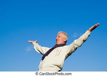 old man at sky