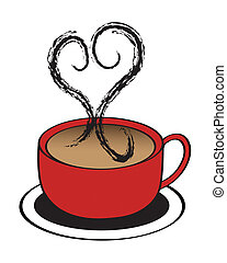 Coffee Cup Heart - A Red coffee cup with steaming heart