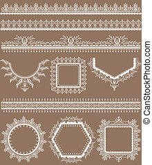 Lace Frame - illustration of set of lace frame in different...
