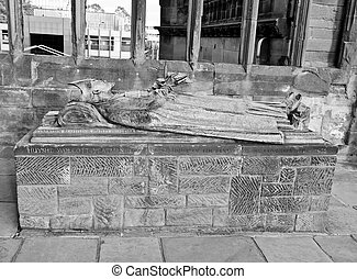 Coventry Cathedral ruins - Bishop sarcophagus in the ruins...