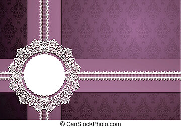 Lace Ribbon on Floral Background