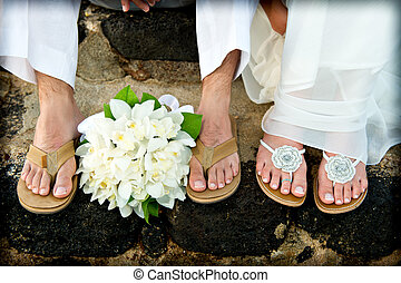 Just Married Tropical Wedding feet - Close up of a bride and...