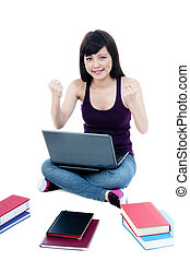 Successful Young Woman With Laptop And Books