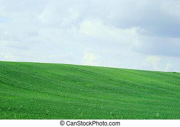 blu, cielo, verde, colline