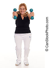 old woman with dumb bells