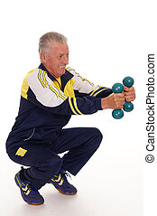 old man with dumb bells - cute elderly man with dumb bells...
