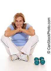 aged woman and dumb bells - cute aged woman with dumb bells...