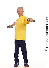 old guy and dumb bells - cute elderly man with dumb bells on...