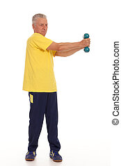 old man with dumb bells on white