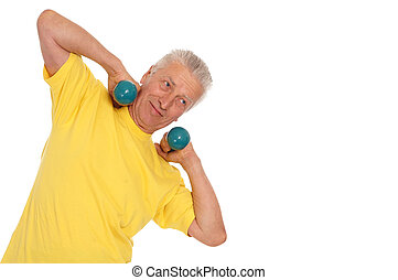 old sportsman with dumb bells - pretty old man with dumb...