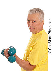 old guy with dumb bells - pretty old man with dumb bells on...