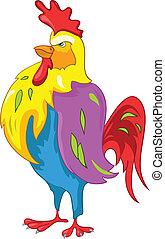 caricatura, carácter, pollo