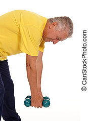 man with dumb bells - pretty old man with dumb bells on...