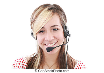 Beautiful business woman with headset. Call center. Customer...