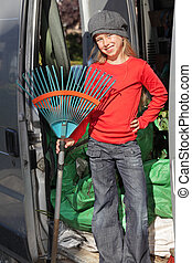 Gardener trainee kid - Smiling proud cute preteen blond...