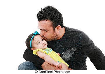 Happy father kissing his daughter on white