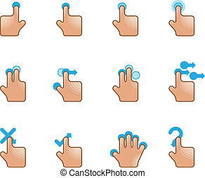 Web Icons - Touch Gestures - A set of hand icons on a...