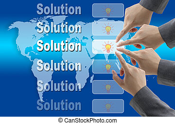 Business Solution - male business hand pushing on Innovation...