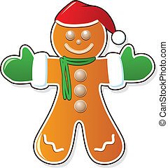 gingerbread cookie in santas claus hat - vector gingerbread...