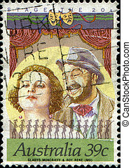 AUSTRALIA - CIRCA 1989: A stamp printed in Australia shows Gladys Mongrieff and Roy Rene, Australian Stage and Screen Personalities, circa 1989