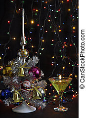 New Year tree with lights - New Year background with silver...