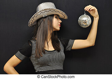 Fancy cowgirl with mirror ball on black