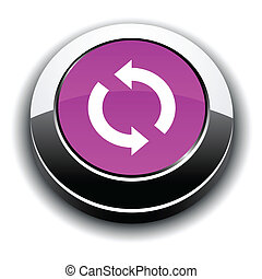 Refresh 3d round button - Refresh metallic 3d vibrant round...