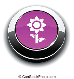 Flower 3d round button.