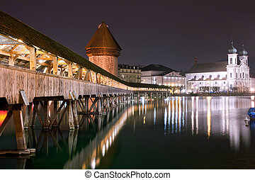 Chapel bridge Switzerland - Famous wooden Chapel bridge foot...