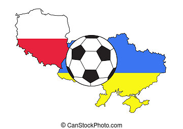 soccer ball with flags of Poland and Ukraine