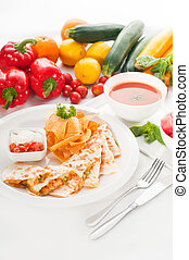 original Mexican quesadilla de pollo with nachos served with...