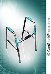 Walking aid using by handicaps - Digital illustration of...