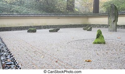 Japanese Flat Sand Garden in Portland Oregon One Foggy Early...