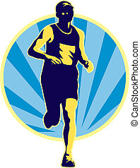 marathon runner running retro - illustration of a marathon...