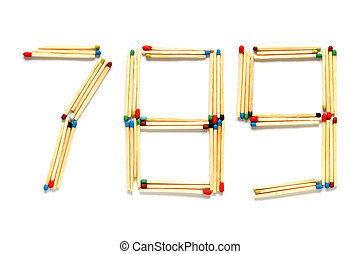 Numbers 7 8 and 9 made of matches on a white background