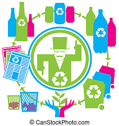 concept recycling - vector concept recycling with cans,...