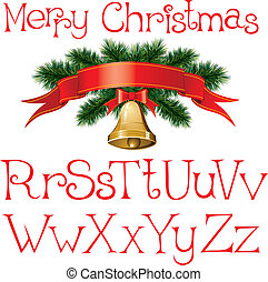 christmas alphabet - vector handmade christmas alphabet with...