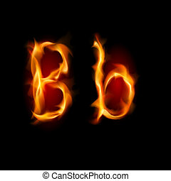 Fiery font Letter B Illustration on black background