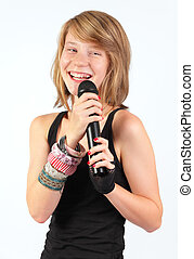 Laughing girl w microphone