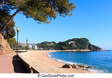 Fenals beach Costa Brava, Spain - Fenals beach at Lloret de...