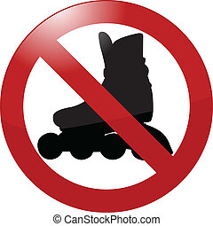 no rollerbladading sign - vector