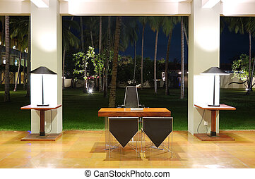 Modern lobby interior at night illumination, Bentota, Sri...