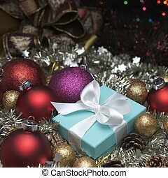luxury christmas - small turquoise box tied with a white...