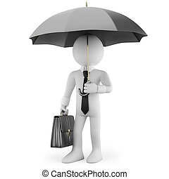 Businessman with an umbrella and a briefcase waiting....