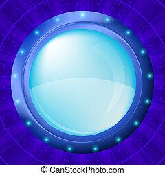 Glass porthole on blue background