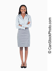 Portrait of a young businesswoman against a white background
